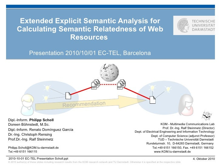 Extended Explicit Semantic Analysis for Calculating Semantic Relatedness of Web Resources  Presentation 2010/10/01 EC-TEL,...