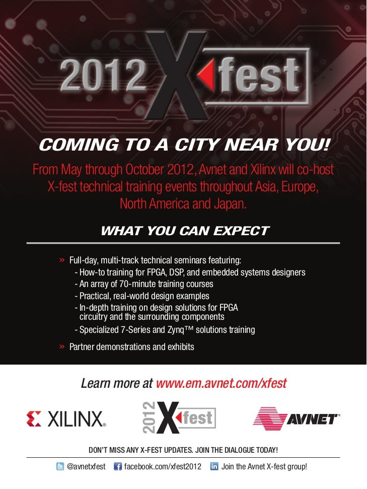 CoMInG to a CItY nEaR You!From May through October 2012, Avnet and Xilinx will co-host   X-fest technical training events ...