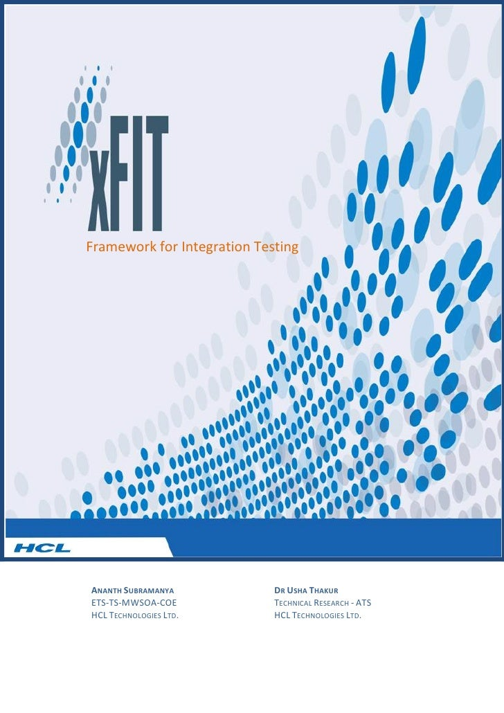 HCLT Whitepaper: xFIT Framework for Integration Testing