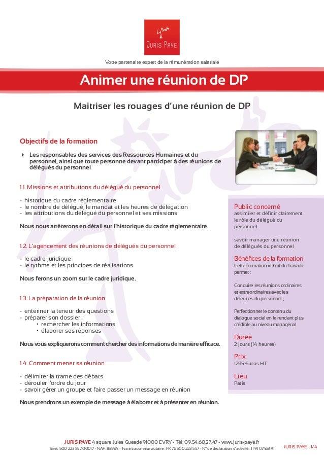 Votre partenaire expert de la rémunération salariale  Animer une réunion de DP  Maitriser les rouages d'une réunion de DP ...