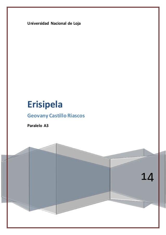 Universidad Nacional de Loja 14 Erisipela Geovany Castillo Riascos Paralelo A3