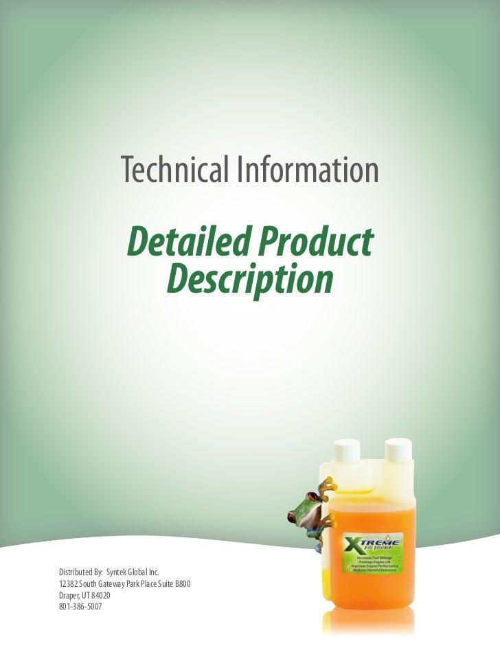 Syntek Xtreme Fuel Treatment XFT Detailed Product Description