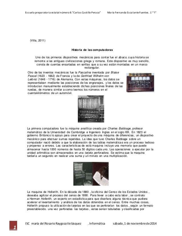 """Escuela preparatoria estatal número 8.""""Carlos Castillo Peraza"""" María Fernanda Escalante Fuentes. 1° """"I""""  ISC maría del Ros..."""