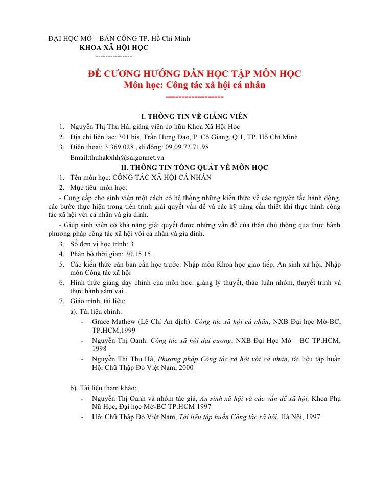 ĐẠI HỌC MỞ – BÁN CÔNG TP. Hồ Chí Minh         KHOA XÃ HỘI HỌC             ---------------               ĐỀ CƯƠNG HƯỚNG DẪN...