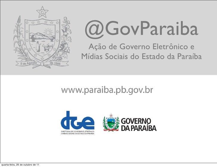 @GovParai - Ação de Governo Eletrônico e Mídias Sociais do Estado da Paraíba
