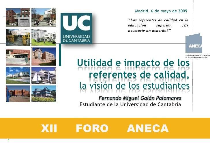 """Madrid, 6 de mayo de 2009                               """"Los referentes de calidad en la                              educ..."""