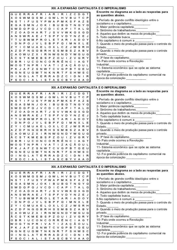 XIII. A EXPANSÃO CAPITALISTA E O IMPERIALISMO                            Encontre no diagrama ao a lado as respostas para ...