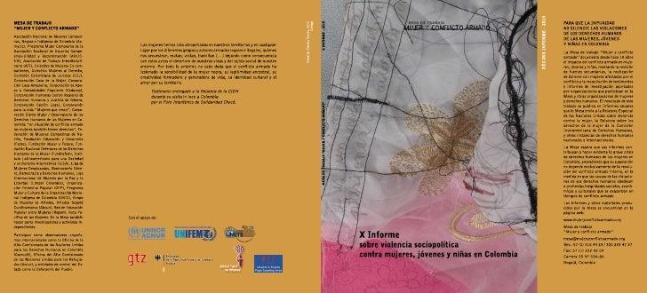 X informe sobre violencia sociopolítica contra mujeres, jóvenes y niñas en Colombia