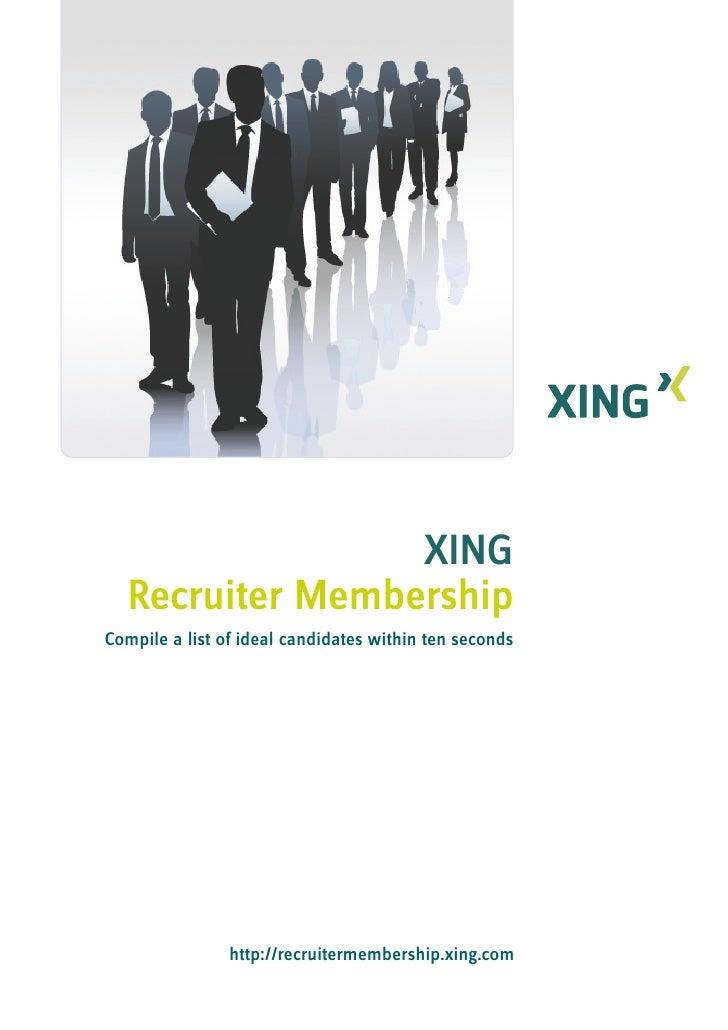XING Recruiter-Account brochure 2010
