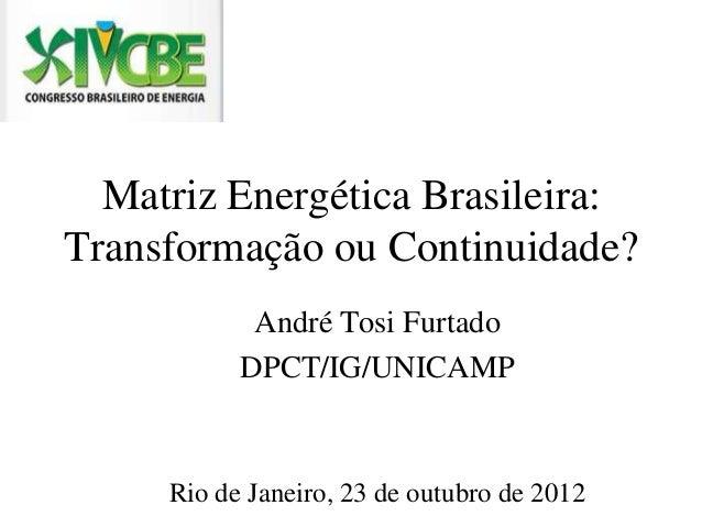 Matriz Energética Brasileira:Transformação ou Continuidade?            André Tosi Furtado           DPCT/IG/UNICAMP     Ri...