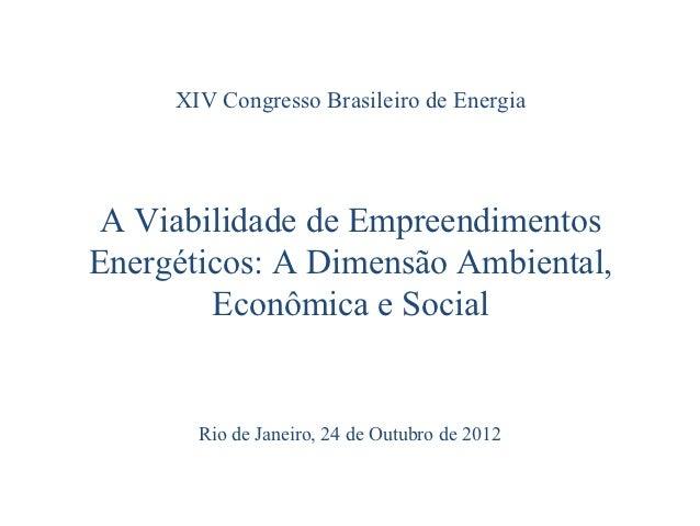 XIV Congresso Brasileiro de Energia A Viabilidade de EmpreendimentosEnergéticos: A Dimensão Ambiental,        Econômica e ...