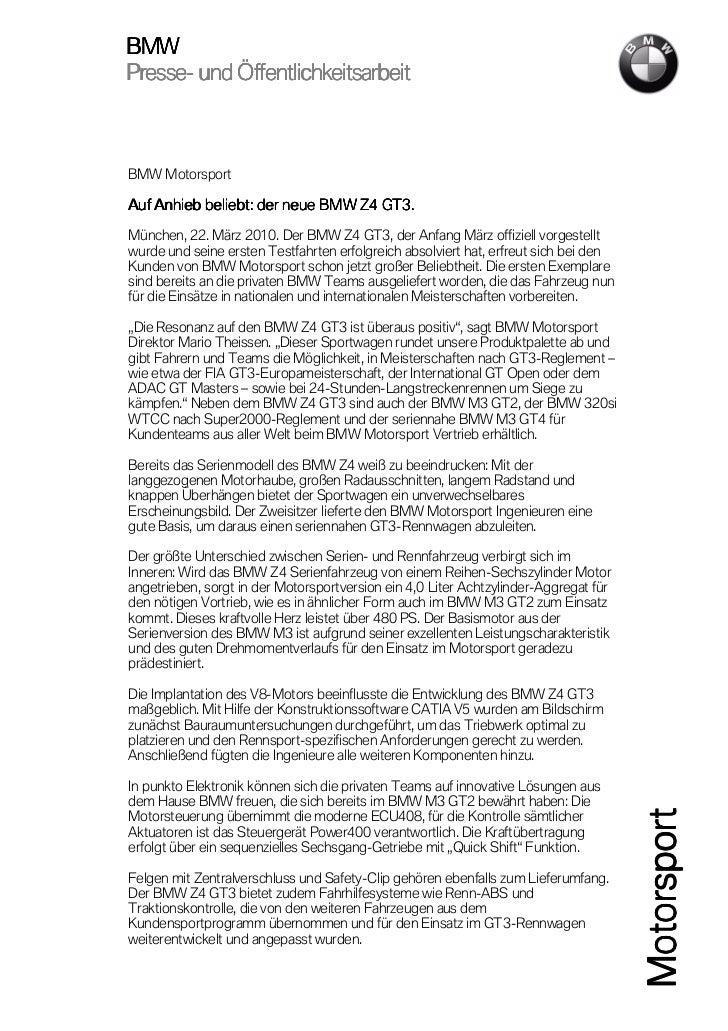 BMWPresse-Presse- und ÖffentlichkeitsarbeitBMW MotorsportAuf Anhieb beliebt: der neue BMW Z4 GT3.München, 22. März 2010. D...