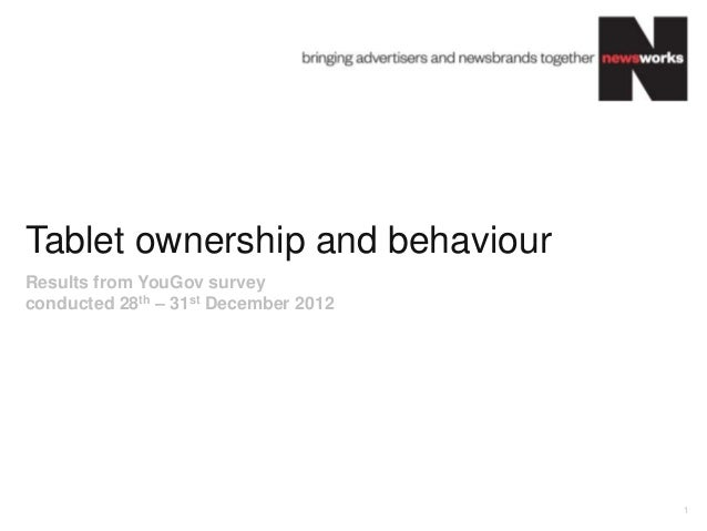 Tablet ownership and behaviourResults from YouGov surveyconducted 28th – 31st December 2012                               ...