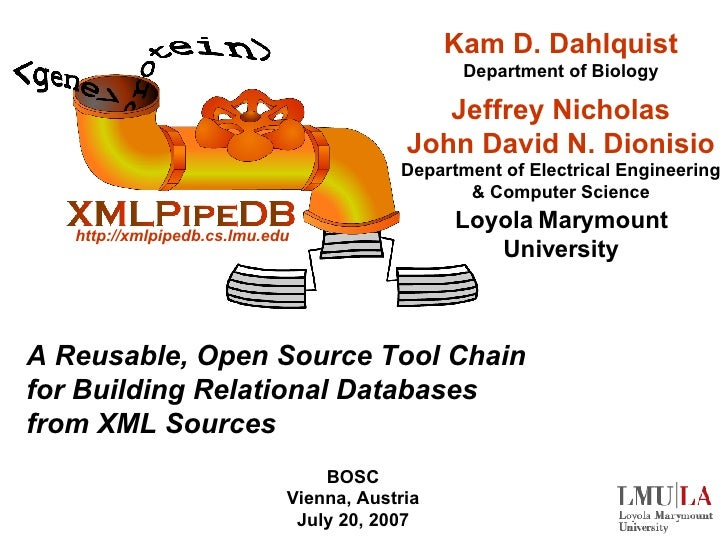 A Reusable, Open Source Tool Chain for Building Relational Databases from XML Sources BOSC Vienna, Austria July 20, 2007 K...