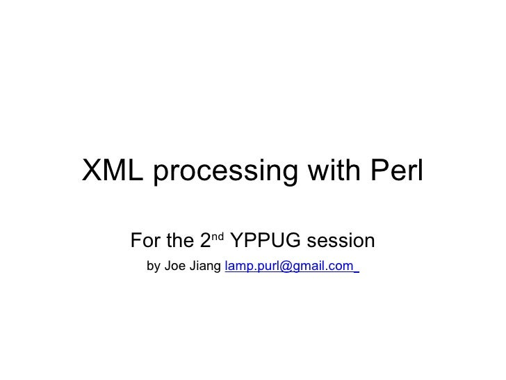 XML processing with perl