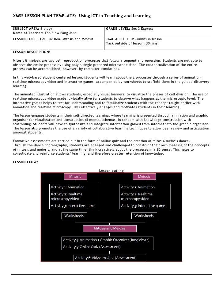 XMSS LESSON PLAN TEMPLATE: Using ICT in Teaching and Learning  SUBJECT AREA: Biology                                     G...