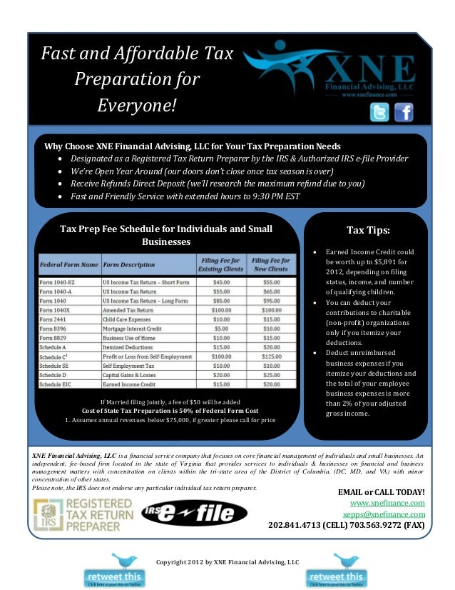 Fast and Affordable Tax       Preparation for          Everyone!    Why Choose XNE Financial Advising, LLC for Your Tax Pr...
