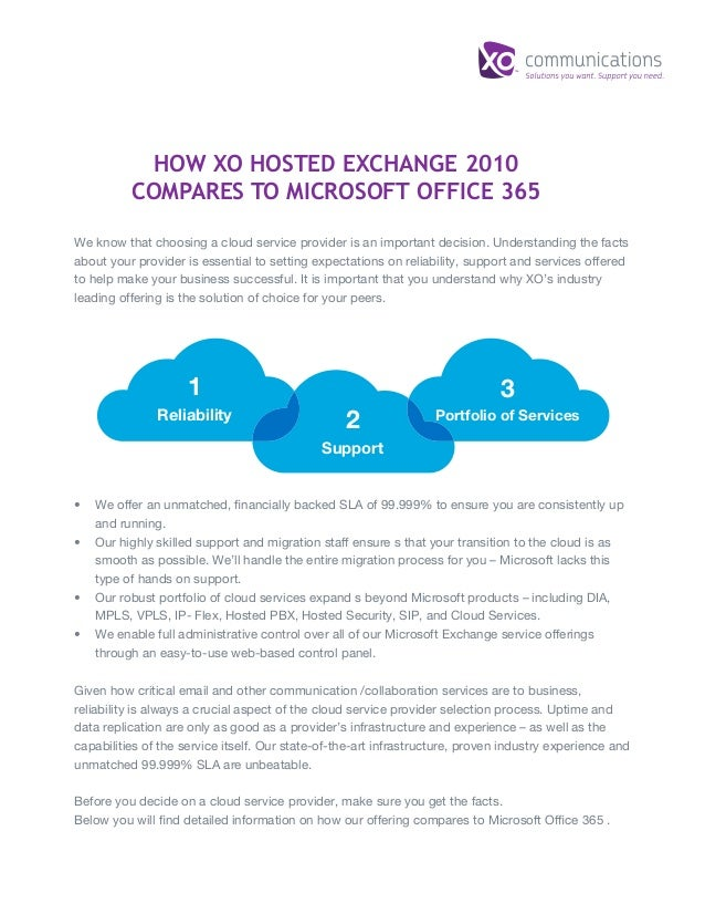 HOW XO HOSTED EXCHANGE 2010 COMPARES TO MICROSOFT OFFICE 365 We know that choosing a cloud service provider is an importan...