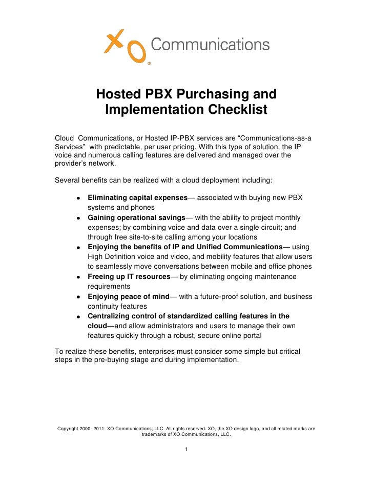 """Hosted PBX Purchasing and                  Implementation ChecklistCloud Communications, or Hosted IP-PBX services are """"Co..."""