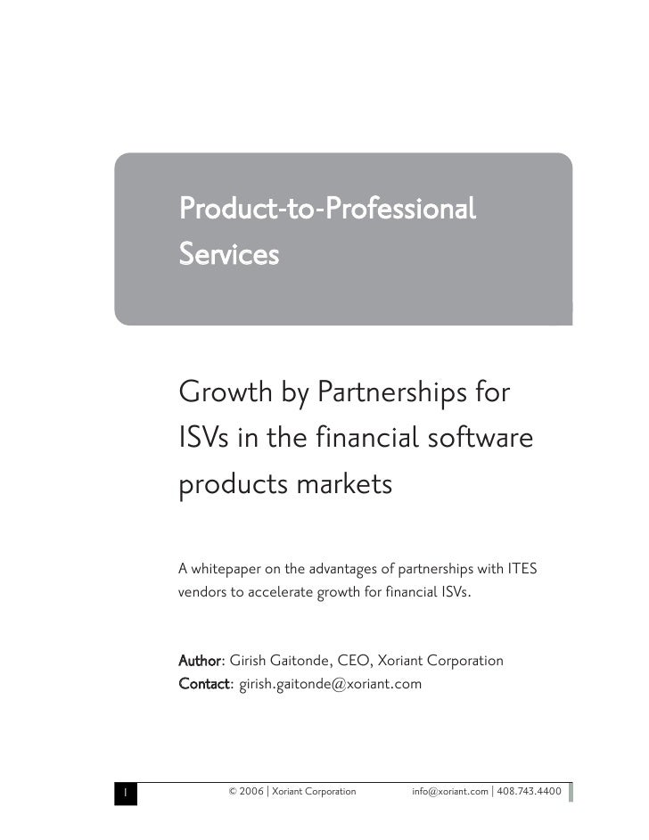 Growth by Partnerships for ISVs in the financial software products markets