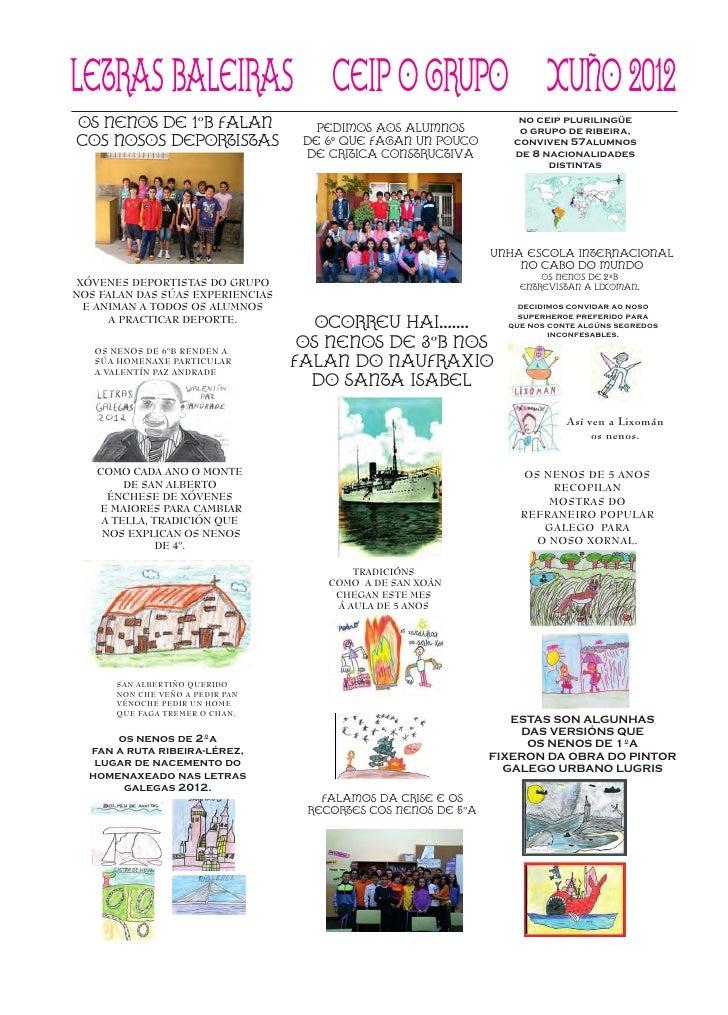 letras baleiras ceip o grupo xuño 2012OS NENOS DE 1ºB FALAN               PEDIMOS AOS ALUMNOS                             ...