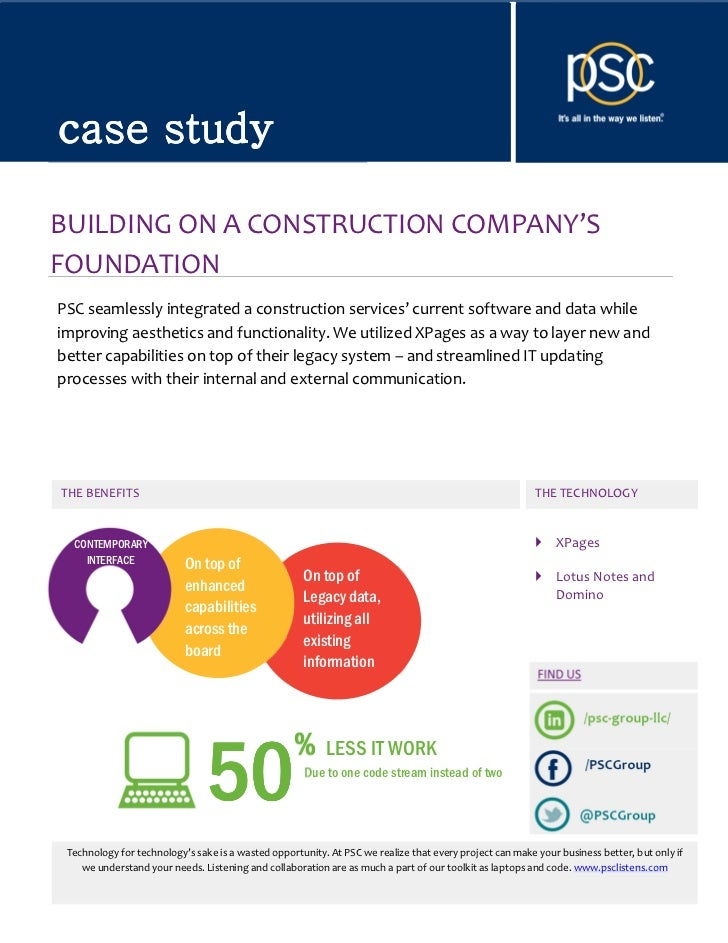 PSCGroup XPages Case Study - Building on a Construction Company's Foundation