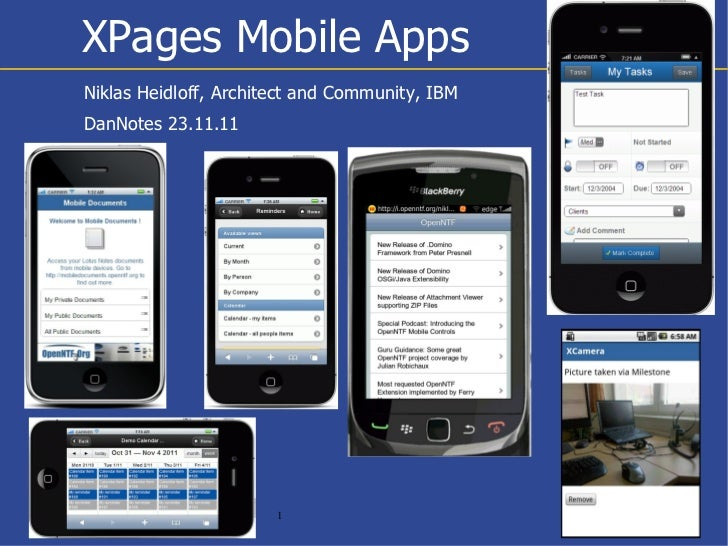 XPages Mobile AppsNiklas Heidloff, Architect and Community, IBMDanNotes 23.11.11                       1