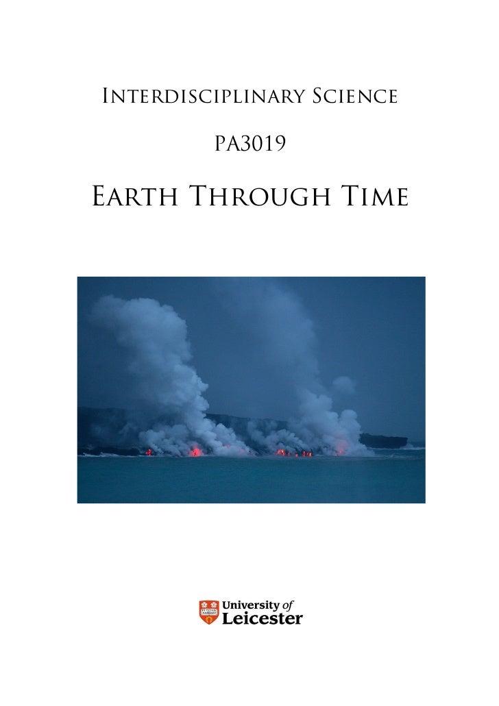 Interdisciplinary Science           PA3019  Earth Through Time