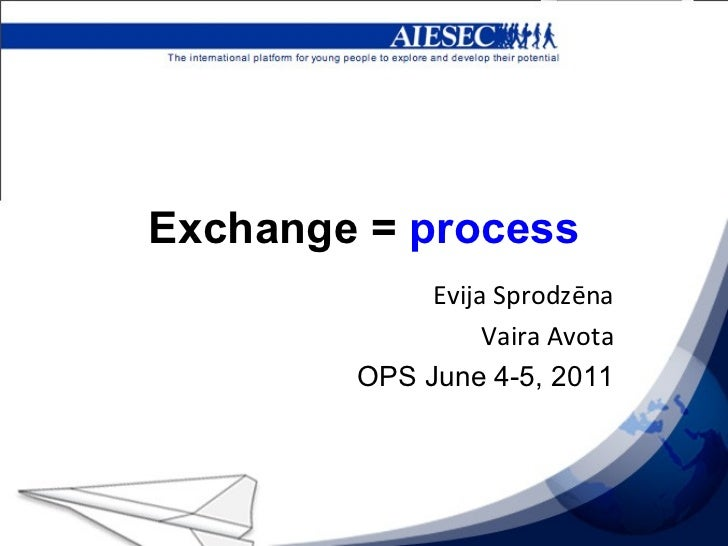 Exchange =  process Evija Sprodzēna Vaira Avota OPS June 4-5, 2011
