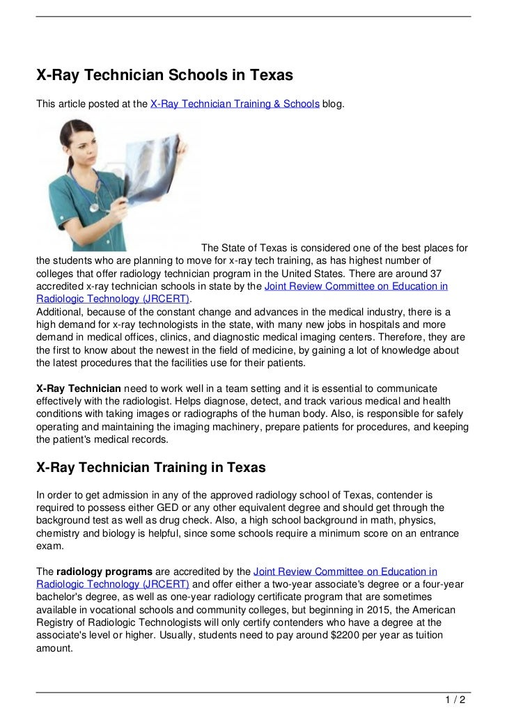 X-Ray Technician Schools in TexasThis article posted at the X-Ray Technician Training & Schools blog.                     ...