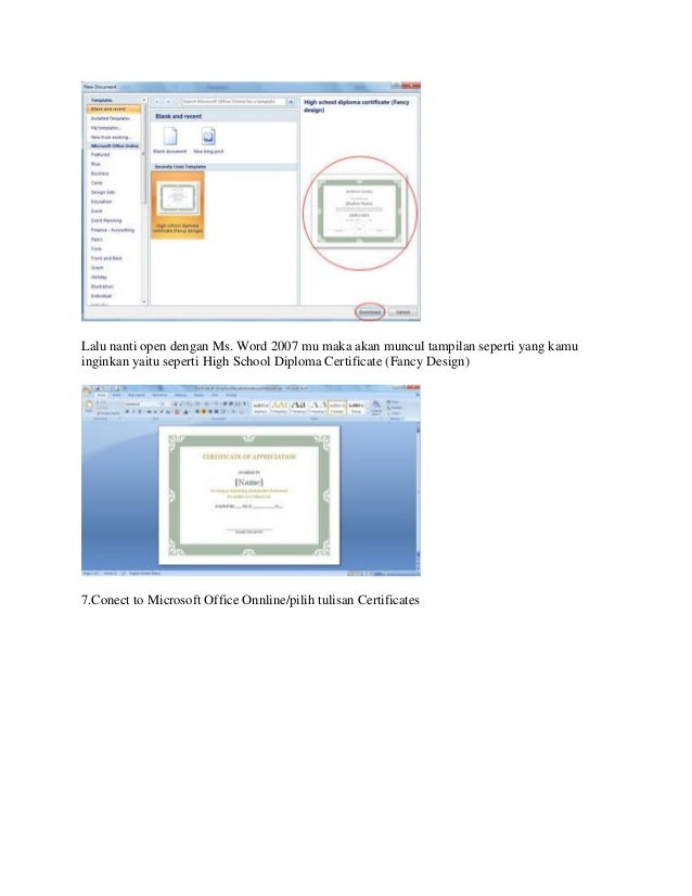 Cara membuat sertifikat memakai aplikasi microsoft word 1 for High school diploma certificate fancy design templates