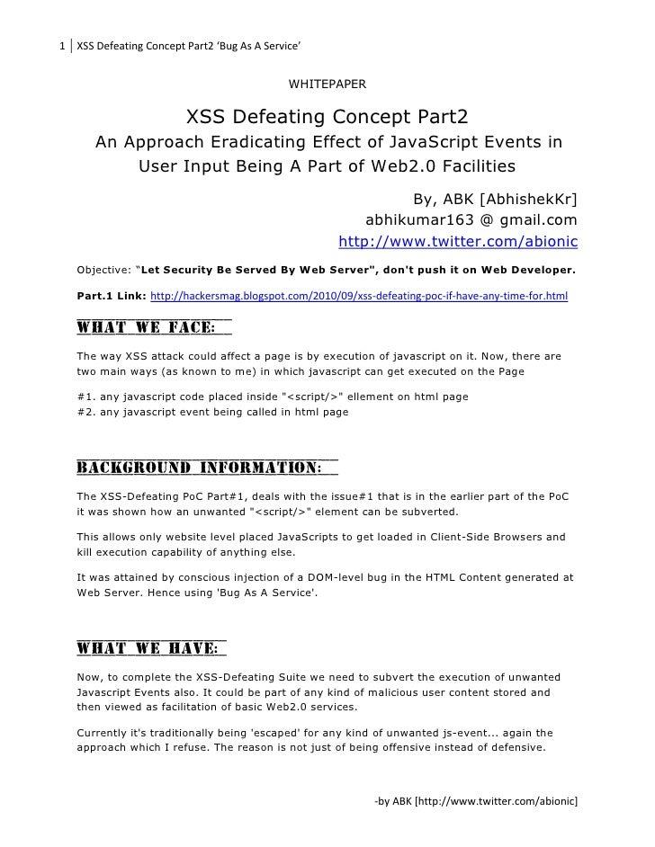 XSS Defeating Concept - Part 2