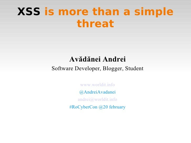 Xss is more than a simple threat