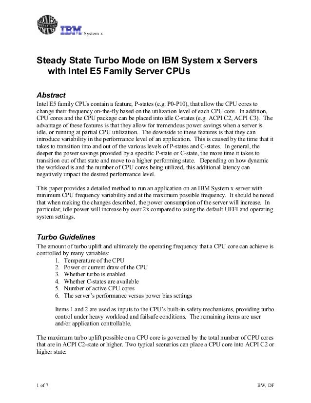 Steady State Turbo Mode on IBM System x Servers with Intel E5 Family Server CPUs