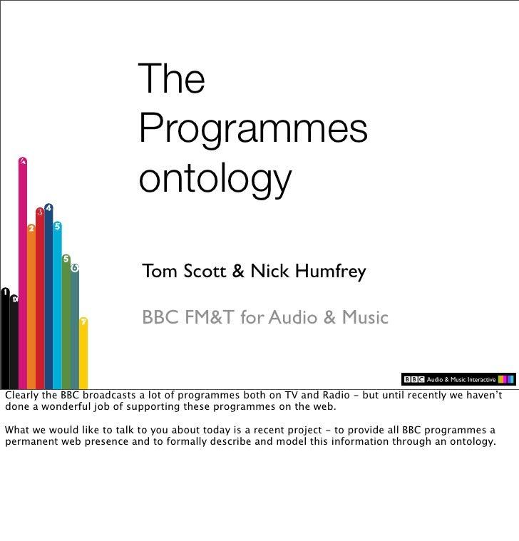 The                           Programmes                           ontology                             Tom Scott & Nick H...