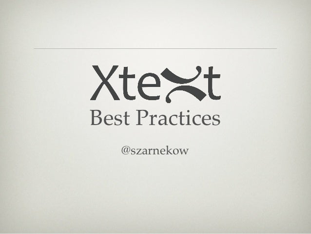 Best Practices   @szarnekow