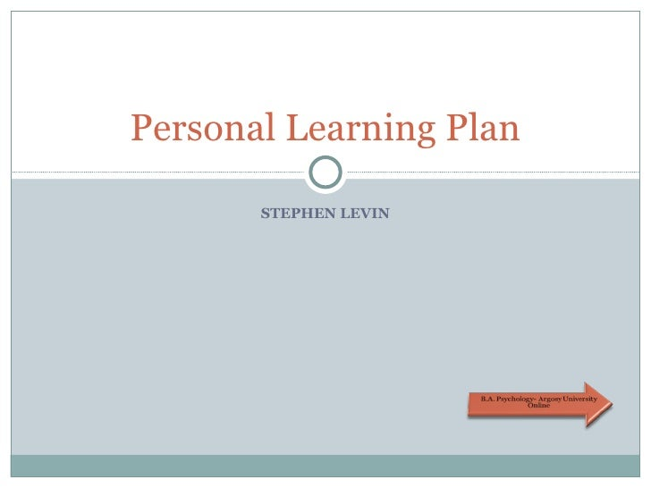 STEPHEN LEVIN Personal Learning Plan