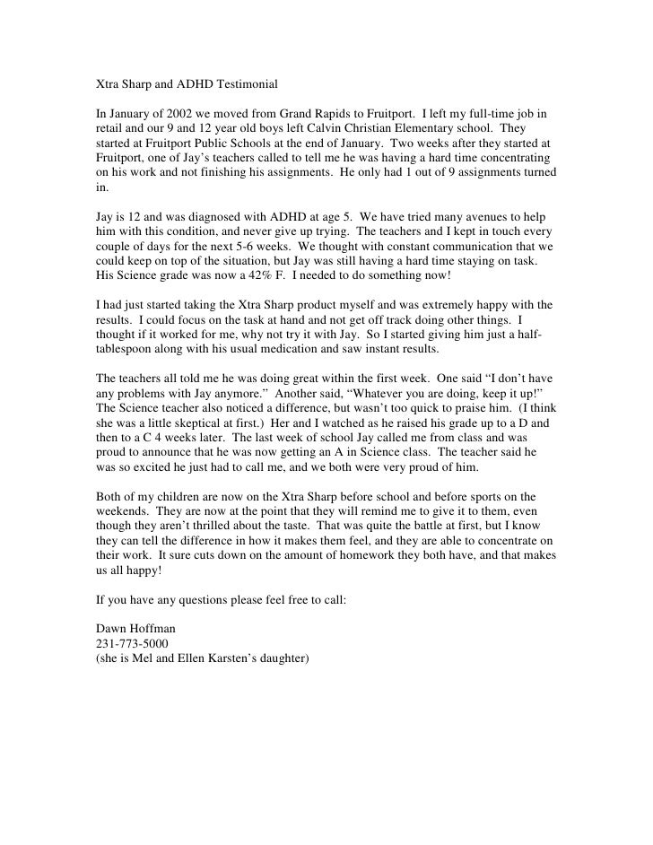 Xtra Sharp and ADHD Testimonial  In January of 2002 we moved from Grand Rapids to Fruitport. I left my full-time job in re...