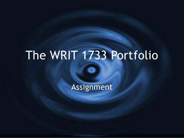 1733 Portfolio Assignment