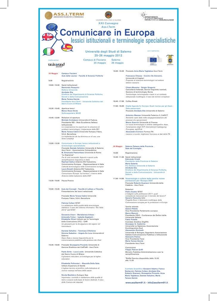 XXII Convegno                                                                  Ass.I.Term                Comunicare in Eur...