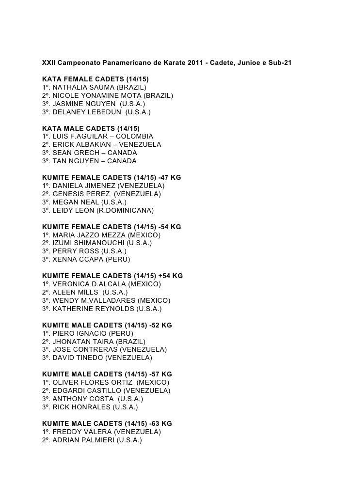 XXII Campeonato Panamericano de Karate 2011 - Cadete, Junioe e Sub-21KATA FEMALE CADETS (14/15)1º. NATHALIA SAUMA (BRAZIL)...
