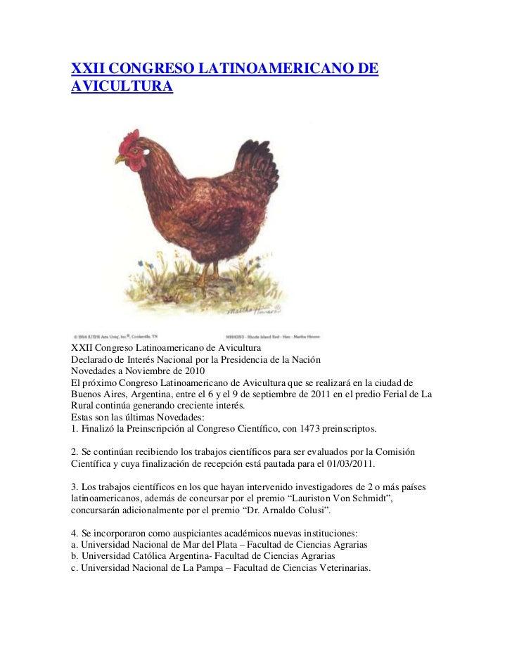 Xxii congreso latinoamericano de avicultura
