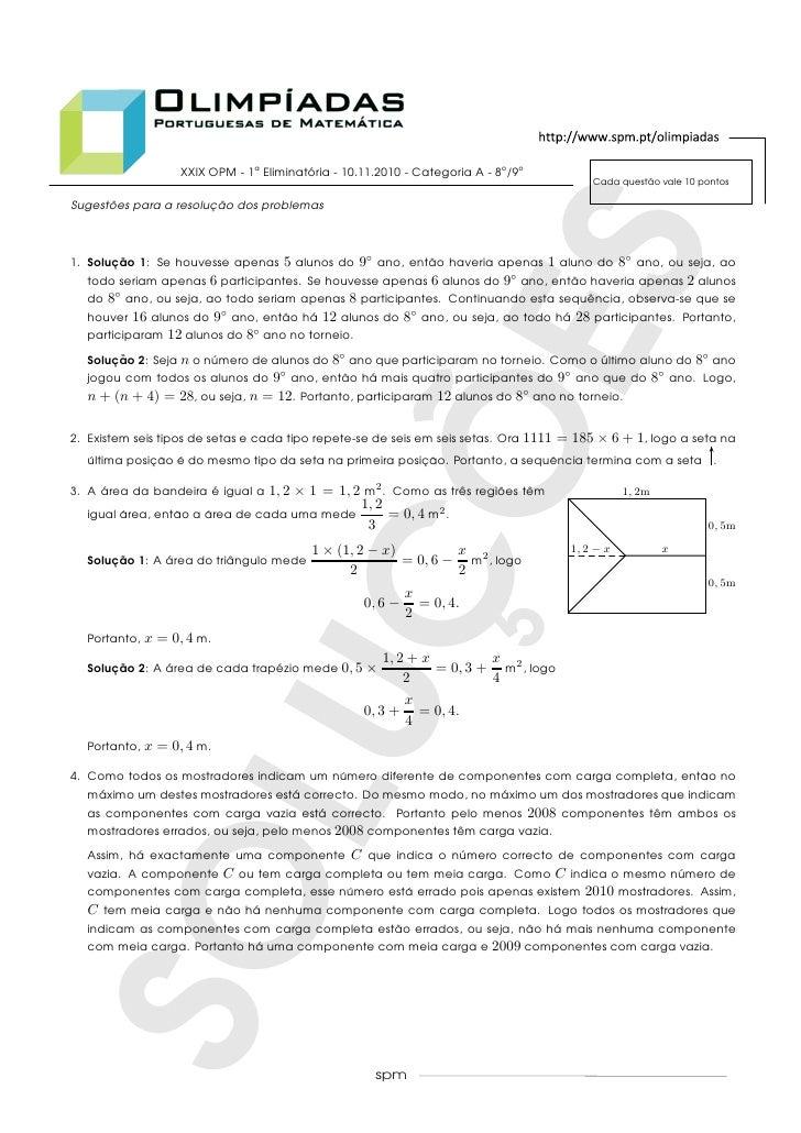 XXIX OPM - 1a Eliminatoria - 10.11.2010 - Categoria A - 8o /9o                                          ´                 ...
