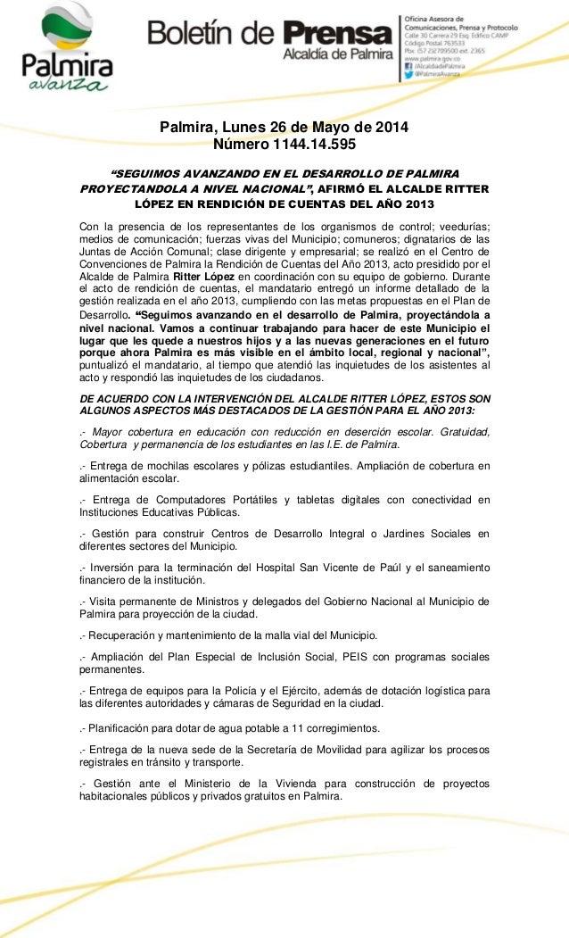 """Palmira, Lunes 26 de Mayo de 2014 Número 1144.14.595 """"SEGUIMOS AVANZANDO EN EL DESARROLLO DE PALMIRA PROYECTANDOLA A NIVEL..."""
