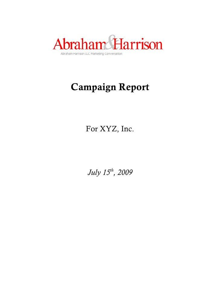 "Abraham Harrison ""Xyz, Inc."" Sample Report"