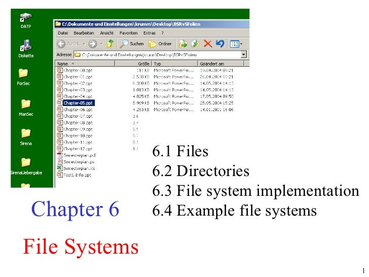File Systems Chapter 6 6.1 Files  6.2 Directories  6.3 File system implementation  6.4 Example file systems