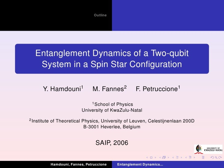 Outline   Entanglement Dynamics of a Two-qubit    System in a Spin Star Configuration       Y. Hamdouni1                M. ...