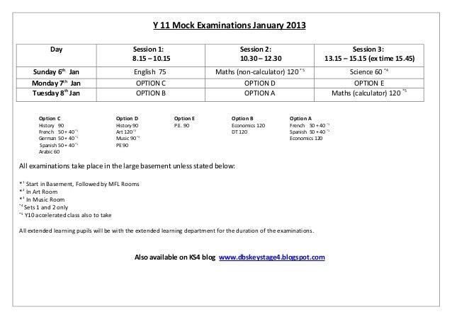 Y11 Mock Timetable - 6-8 Jan 2013