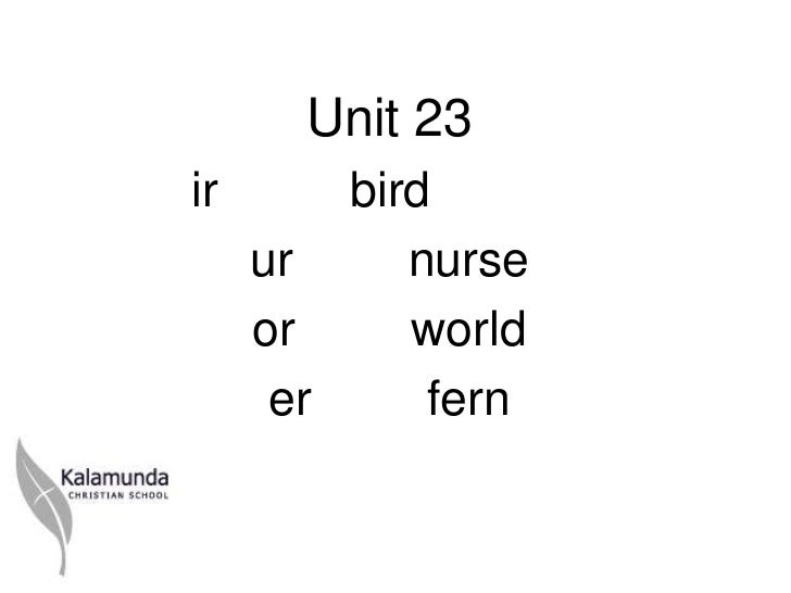 Unit 23ir       bird     ur     nurse     or     world      er     fern