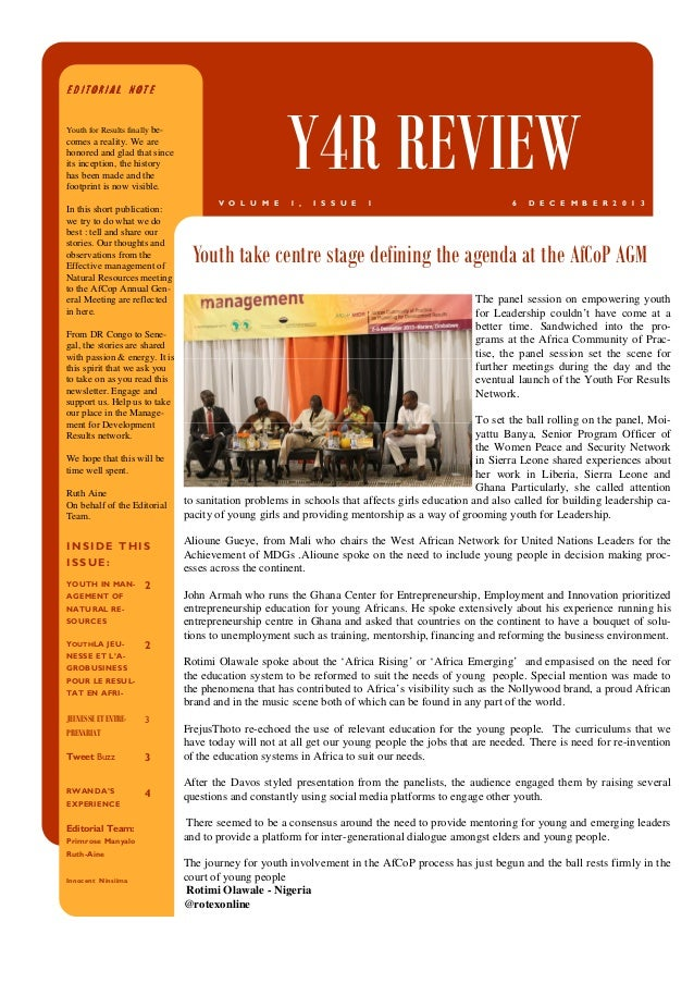 EDITORIAL NOTE  Y4R REVIEW  Youth for Results finally be-  comes a reality. We are honored and glad that since its incepti...